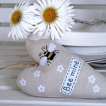 'Bee Mine' Embroidered Heart by The Apple Cottage Company £17