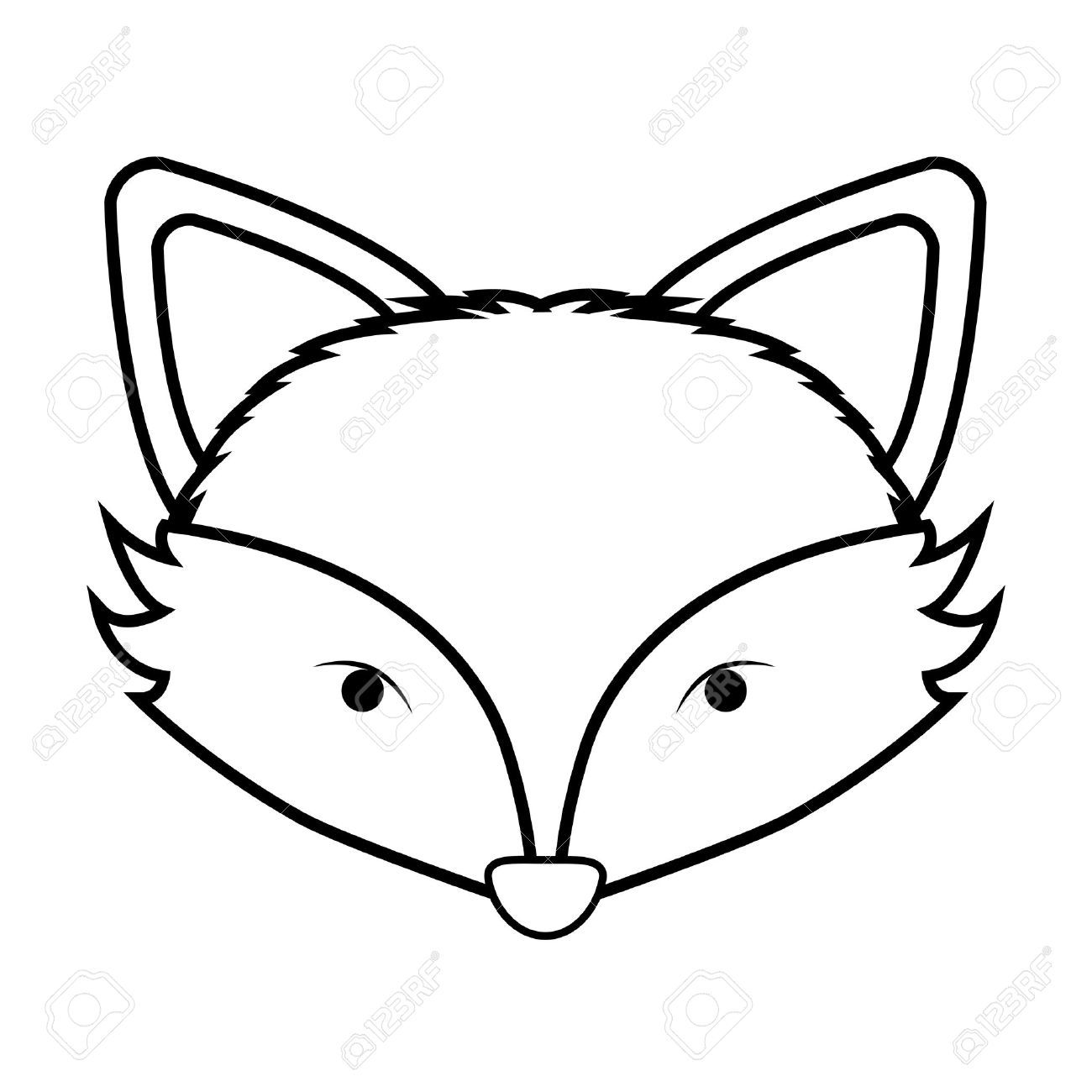 67136024 Contour Monochrome With Fox Face Vector Illustration Stock Vector Jpg 1300 1300 Fox Coloring Page Fox Face Fox Illustration