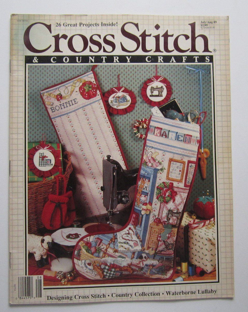 Cross stitch country crafts magazine back issues - Cross Stitch Country Craft Magazine Back Issue July August 1989 Christmas Stockings