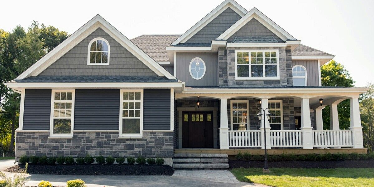 Gray blue white stone diy yard exterior pinterest for Gray blue exterior paint colors