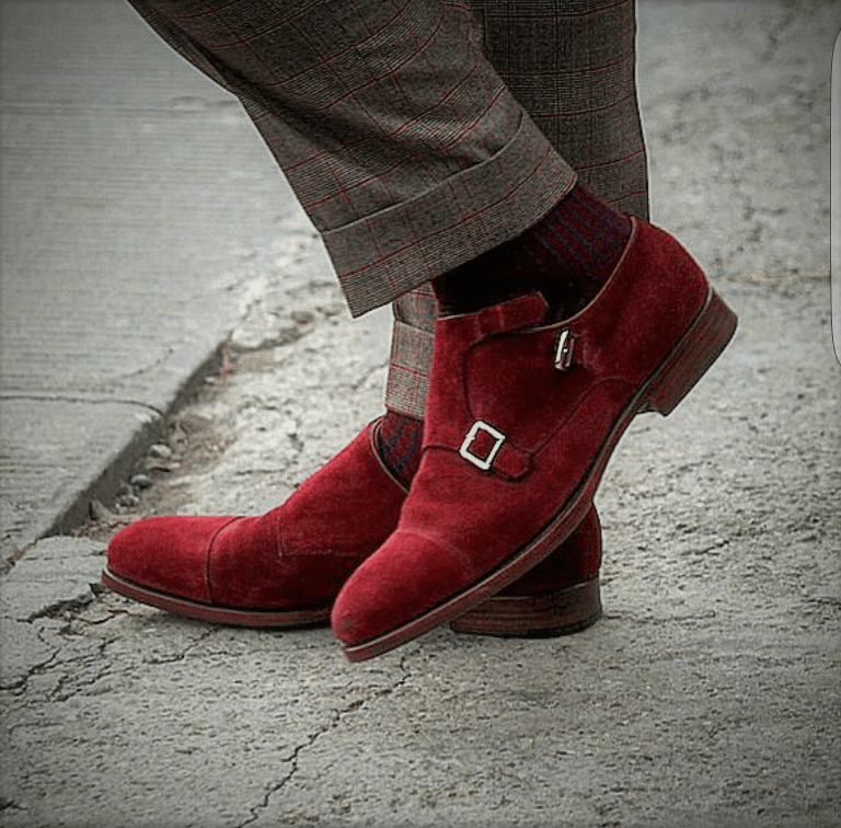 New Handmade Red Suede Leather Monk