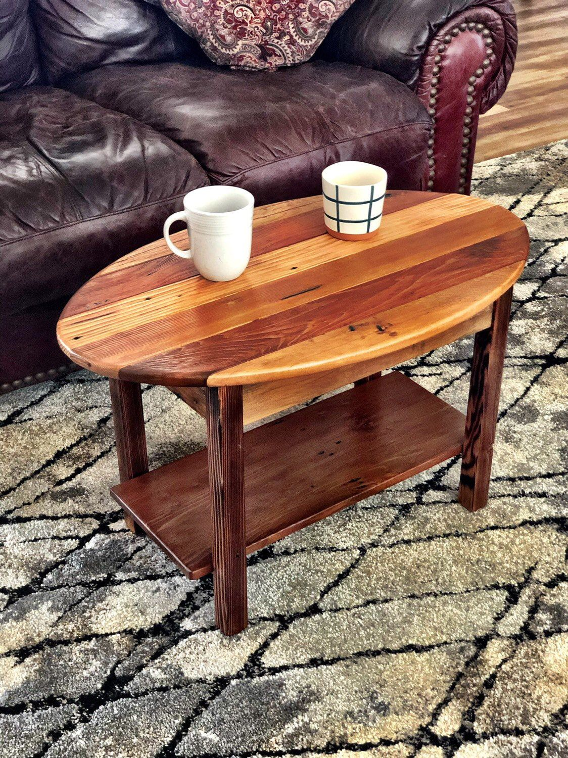 Small Oval Coffee Table Made With Reclaimed Wood Oval Coffee