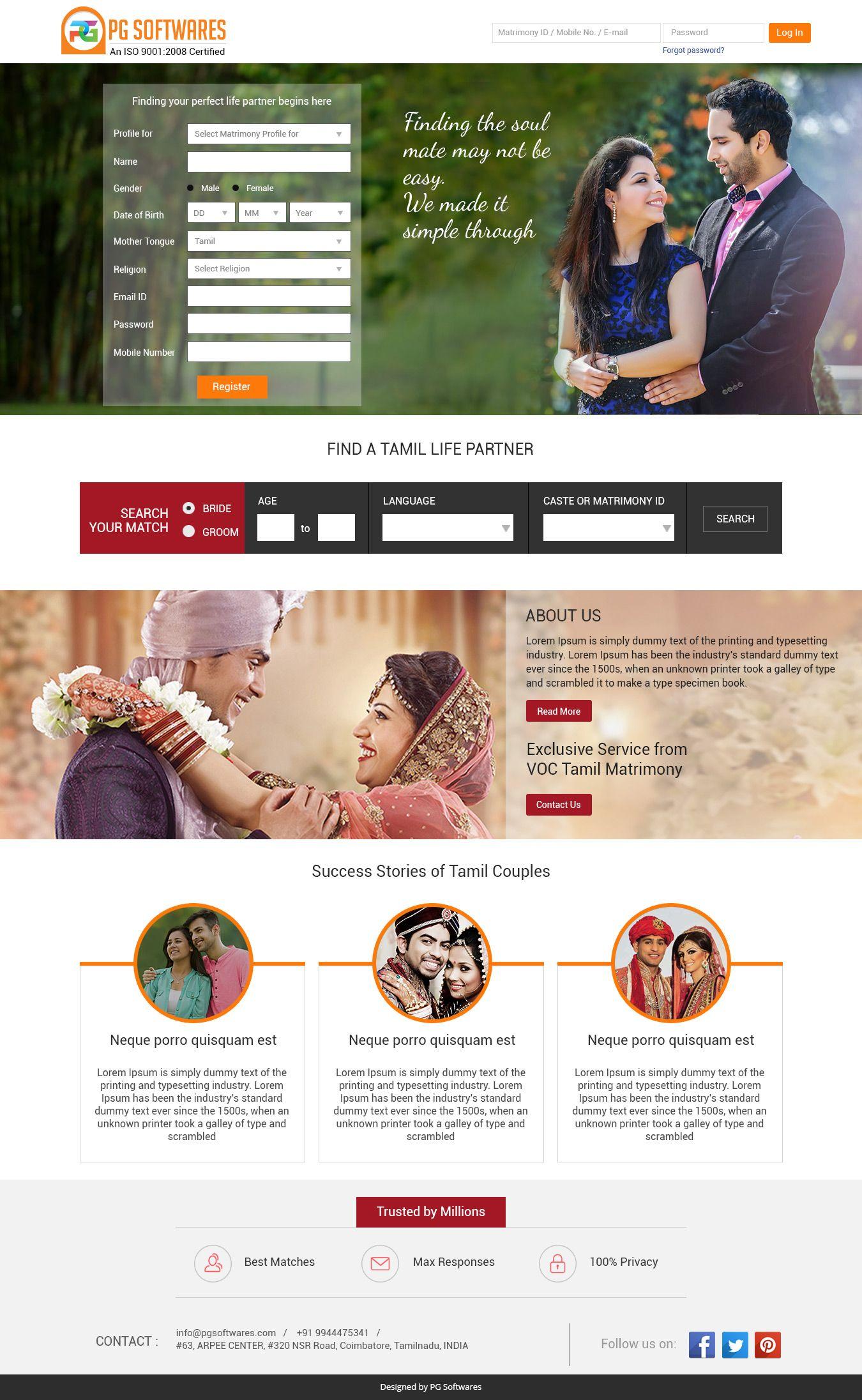 Matrimony Responsive Website Template Website Matrimonial - Web development company website template