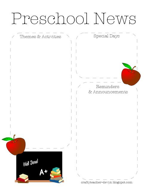 preschool newsletter template 2 the crafty teacher
