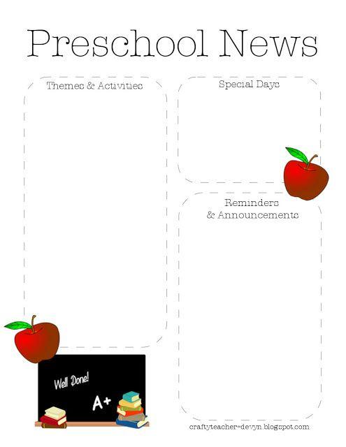Preschool Newsletter Template 2 | printables | Pinterest