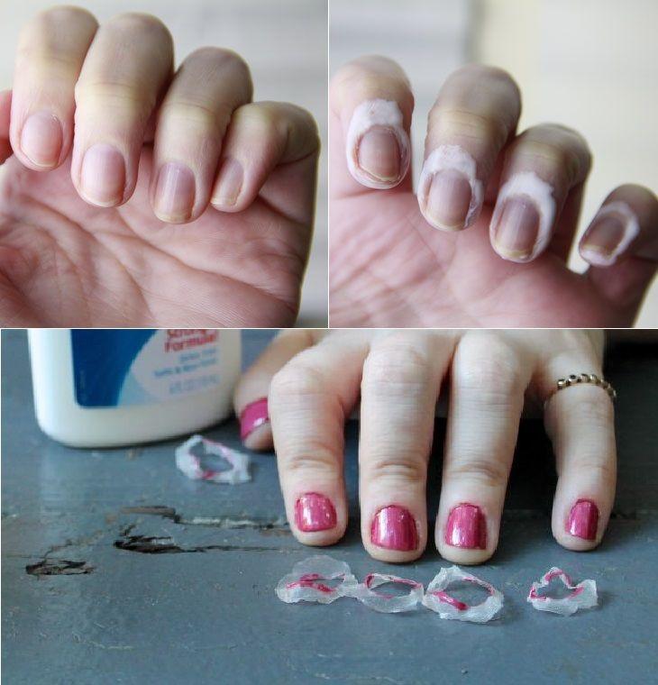Para não borrar as unhas, use cola branca para criar uma película! <3