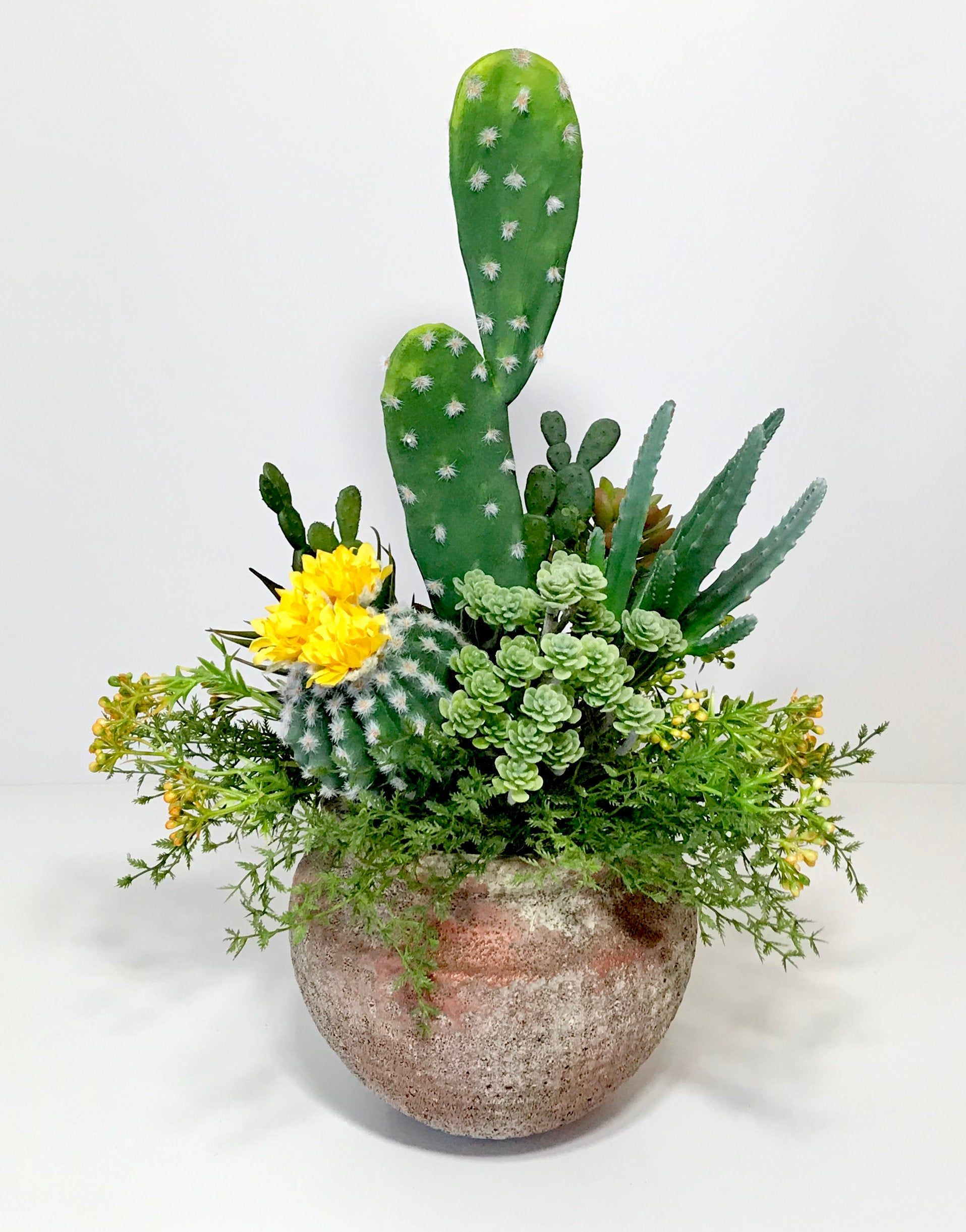 Artificial Cactus Faux Succulents Large Arrangement Terra Cotta Pot 20 Tall Faux Floral Centerpiece Large Potted Cactus Gift Handmade In 2020 Artificial Cactus Garden Design Succulents