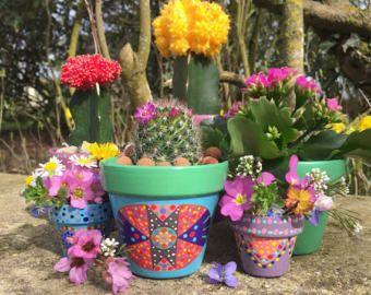 Bote pequeño de flores de cactus / pintado a por 3cactusdans1bateau