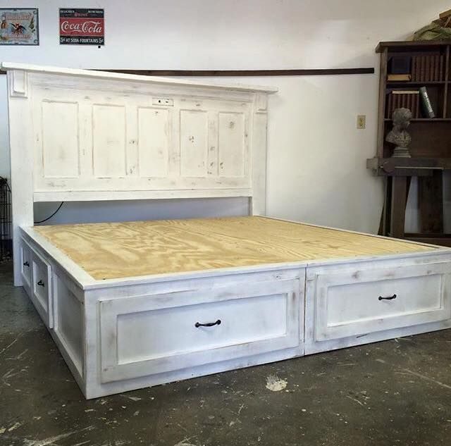 Platform Bed With Headboard Made From An Old Door Door Bed Frame Headboard From Old Door Remodel Bedroom