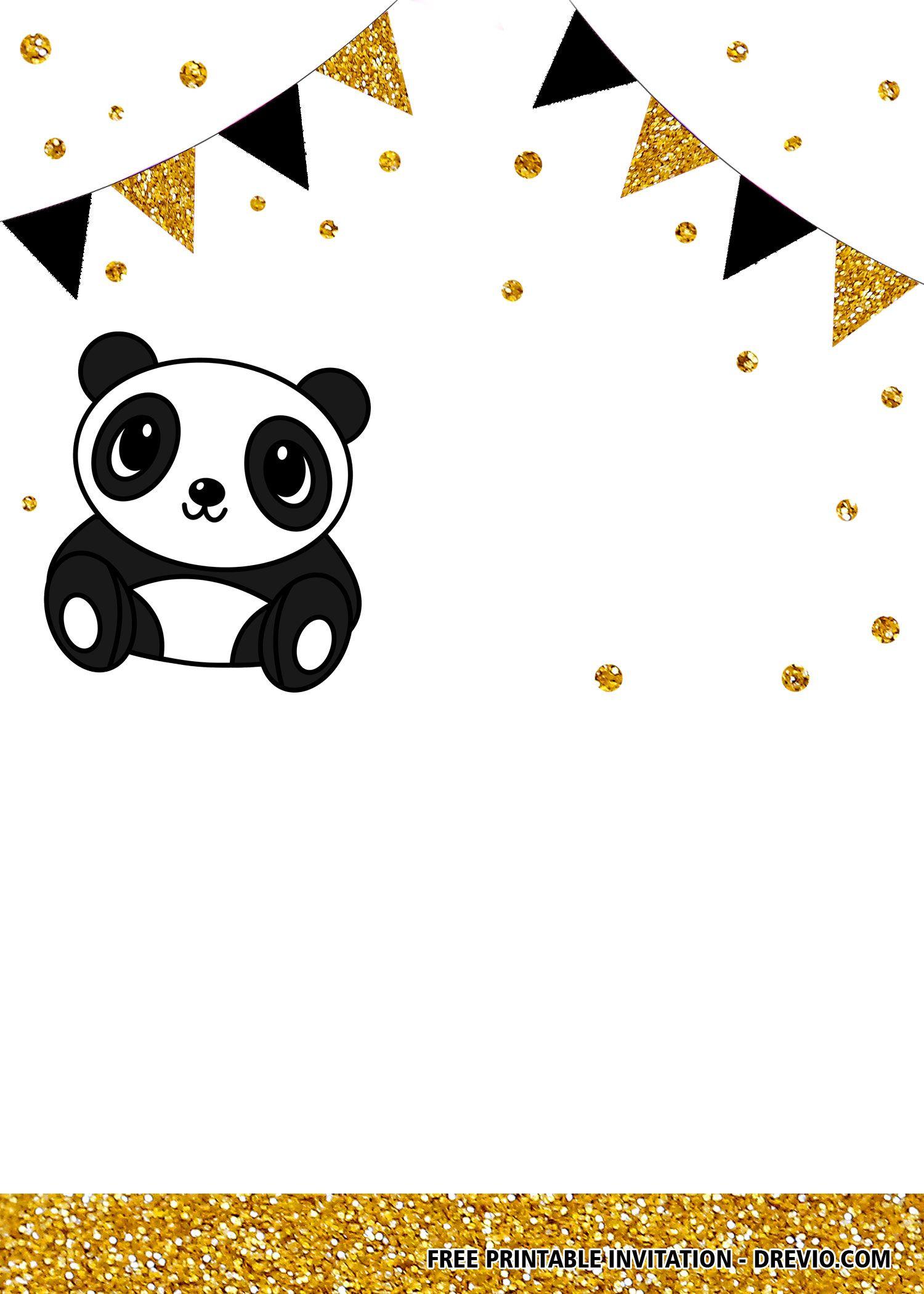 Free Printable Panda Birthday Invitation Templates Panda Birthday Invitations Panda Birthday Cards Panda Birthday