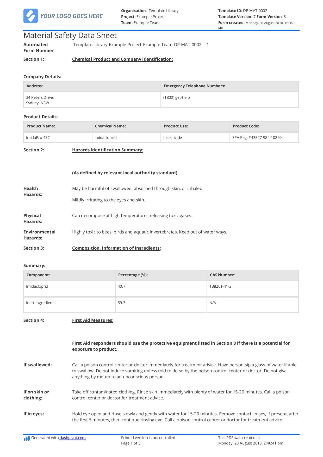 Free Material Safety Data Sheet Template Better Than Word In