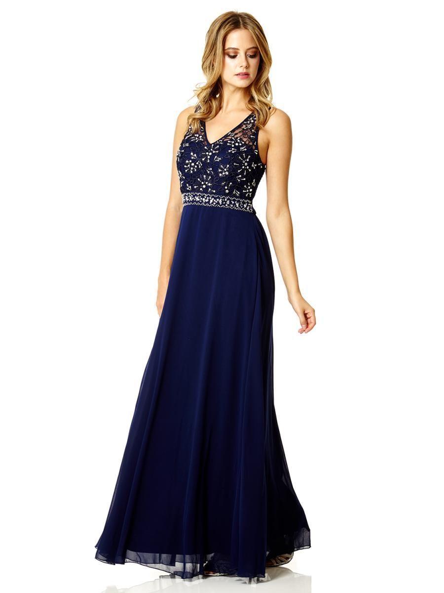 5e6d363caa92 Navy Chiffon Diamante Maxi Dress - Quiz Clothing | The dress ...