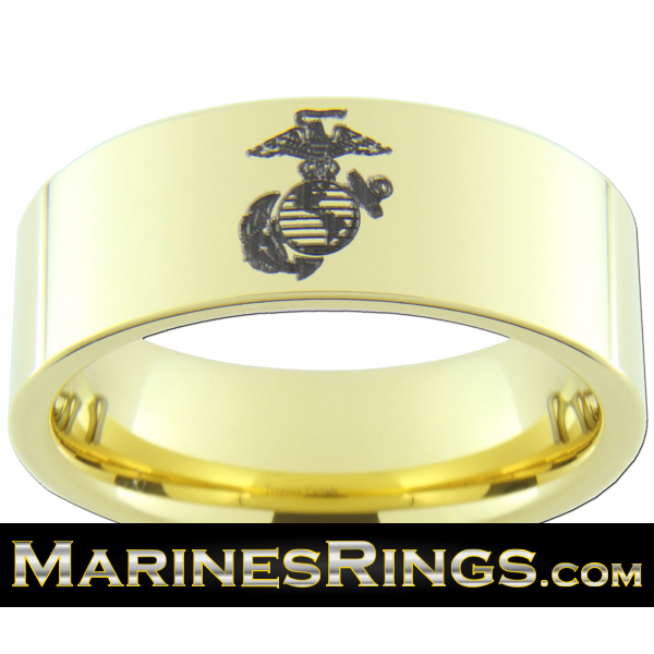 18kt Yellow Gold Plated Marines Tungsten Ring With USMC Eagle Globe Anchor FREE Outside