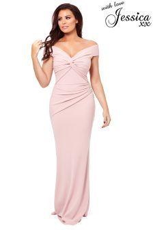 9fe31f8319 Pink Jessica Wright Petite Marina Bardot Maxi Dress (L78323)