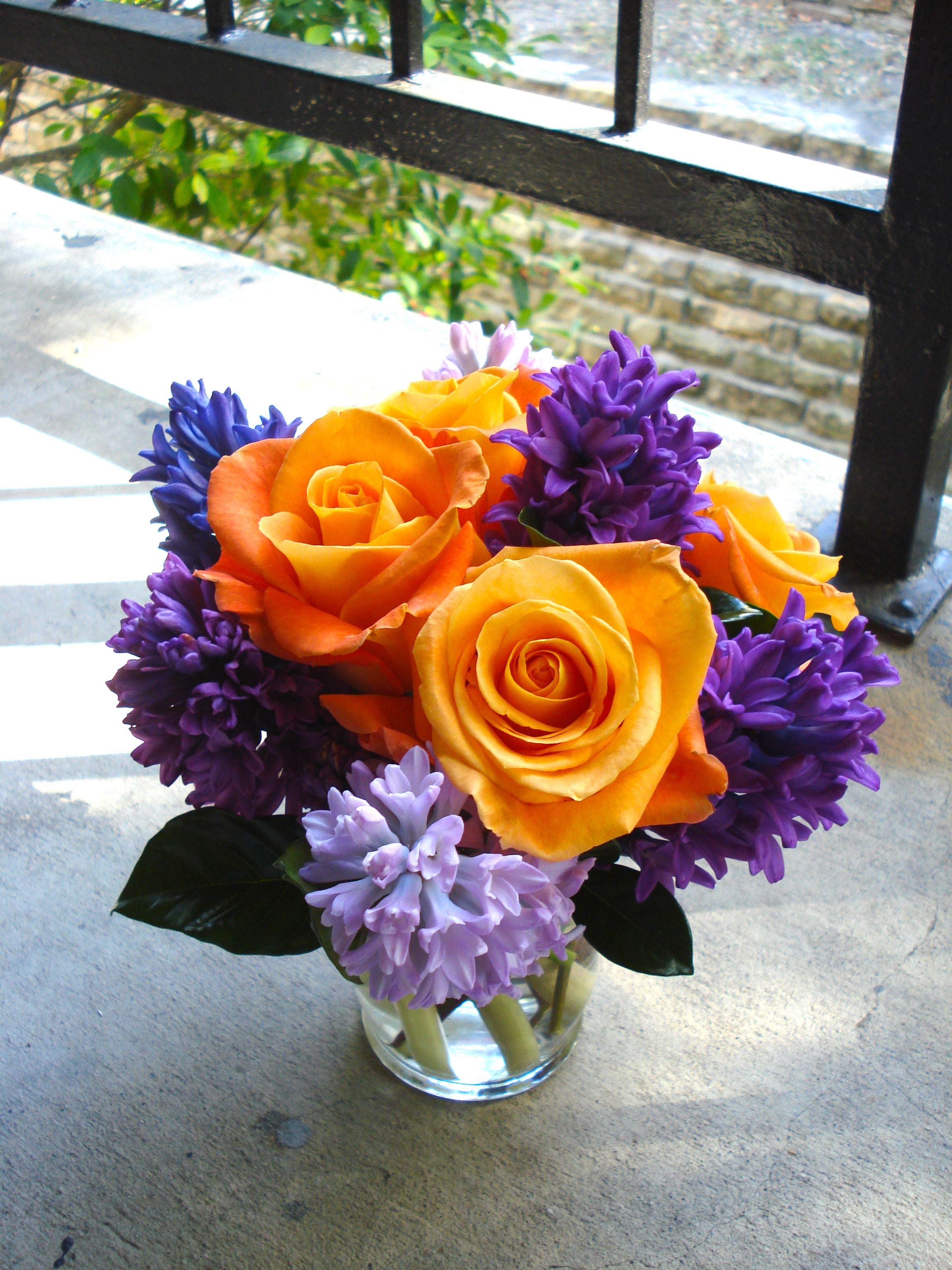 purple hyacinth & voodoo roses