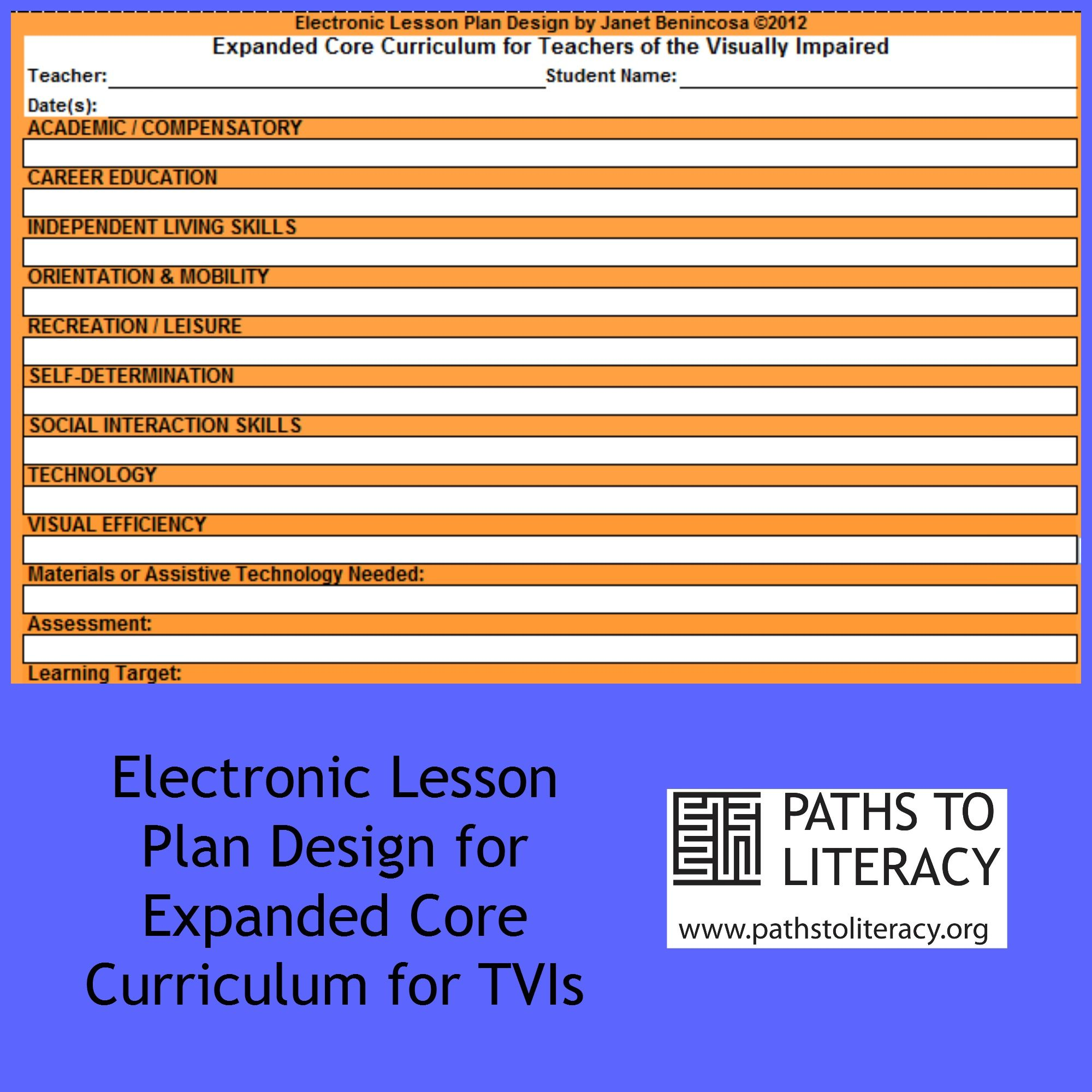 This Lesson Plan Template Has Drop Down Menus For Each Of The 9 Ecc Areas