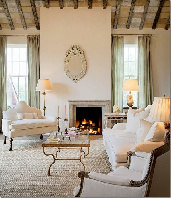 Beau Cream Living Room With Mint Accents.
