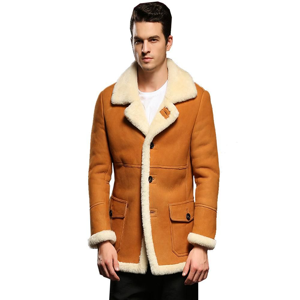 666b7866b Hot Guaranteed Genuine Leather Sheepskin Fur Shearling Male Thick ...