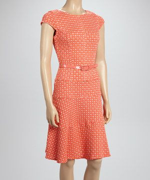 Look what I found on #zulily! Sharagano Coral Belted A-Line Dress by Sharagano #zulilyfinds