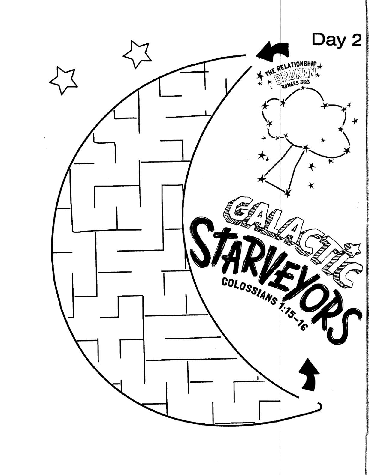Galactic Starveyors Coloring Sheet VBS 2017 Day 2 Easy Maze