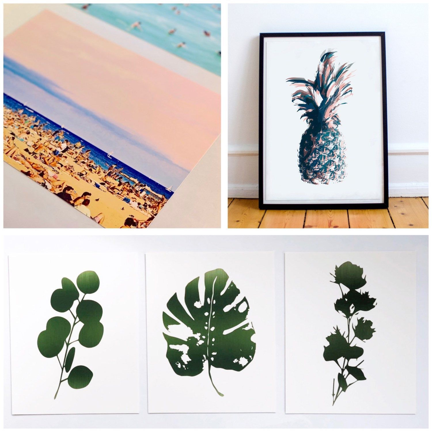 Leaf Prints Green Botanical Prints Set Minimal Botanical Wall Art Dark Green Leaf Print Set Modern Cactus Art Print Botanical Art Prints Nautical Art Decor