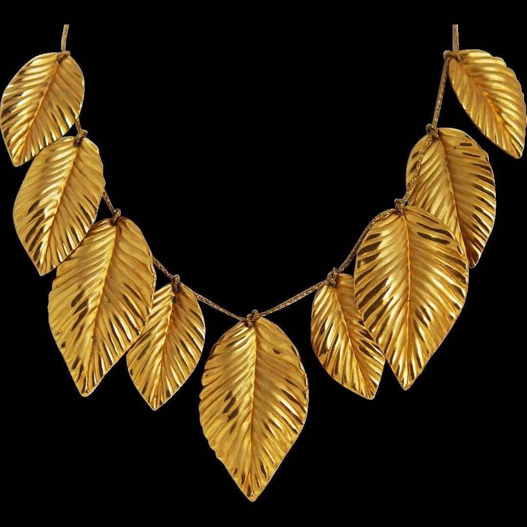 Napier Gold Plated Leaf Necklace Vintage