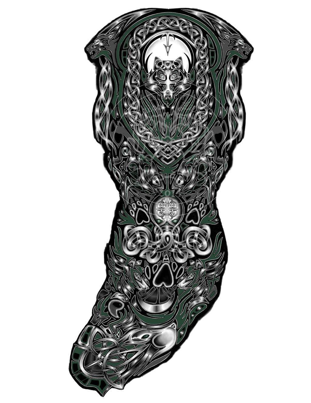Custom Tattoo Design Celtic Wolves Armor Sleeve Tattoo Celtic Sleeve Tattoos Custom Tattoo Design