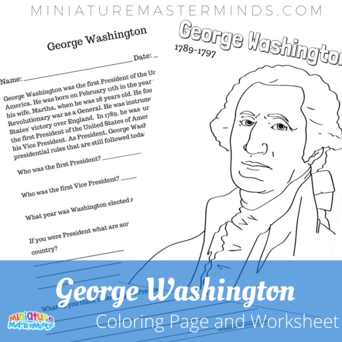 George Washington Coloring Page With Literacy Worksheet | Literacy ...
