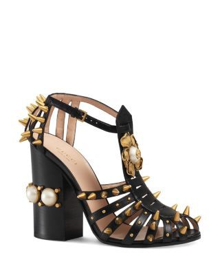 aa274f0c6 GUCCI Kendall Spiked Block Heel Sandals. #gucci #shoes #sandals ...