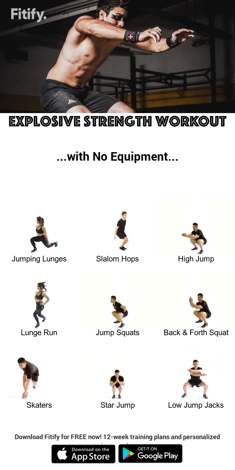 Explosive Strength Workout using NO Equipment