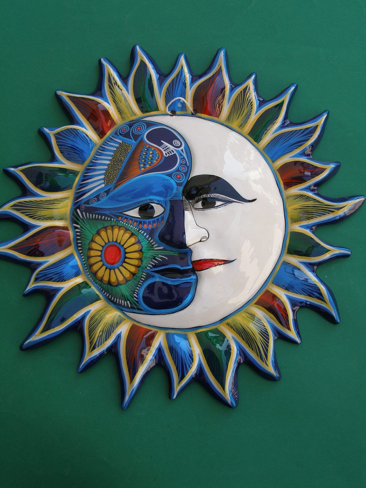 Sun Art Hand Painted Clay Sun Latin Mexican Folk Art