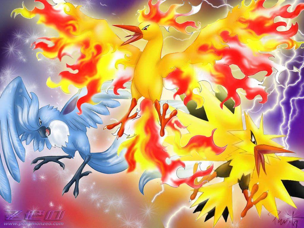 A nice wallpaper of the three legendary birds from gen 1.   Pokemon ...