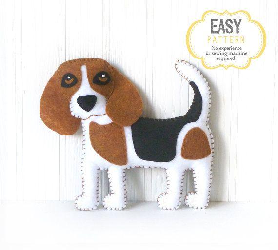 Beagle Sewing Pattern, Dog Hand Sewing Pattern, Sew a Felt Beagle ...