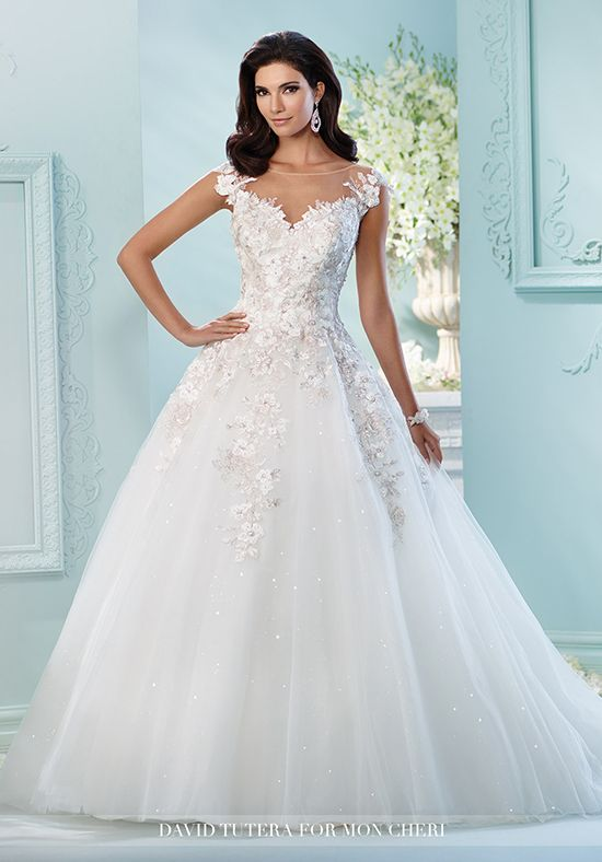 Strapless tulle over satin ball gown with sweetheart neckline ...