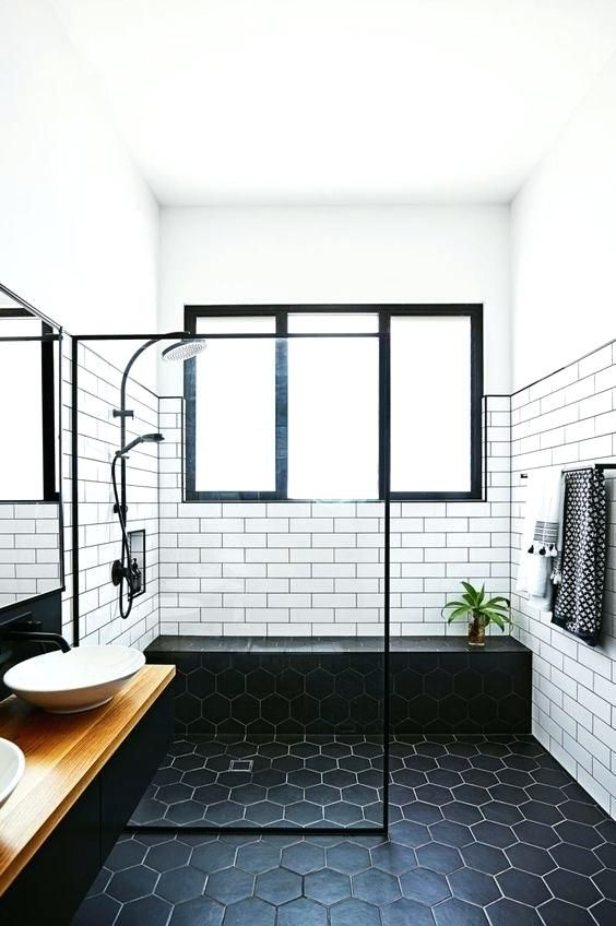 Black And White Tile Floor Subway Walls Bathroom