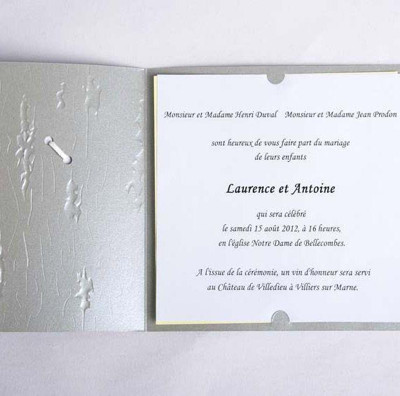 Texte d'invitation pour faire part de mariage