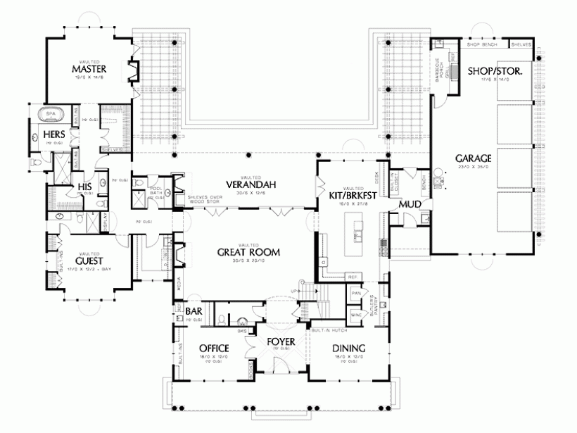 U Shaped House With Courtyard Shaped House Plans With Pool In