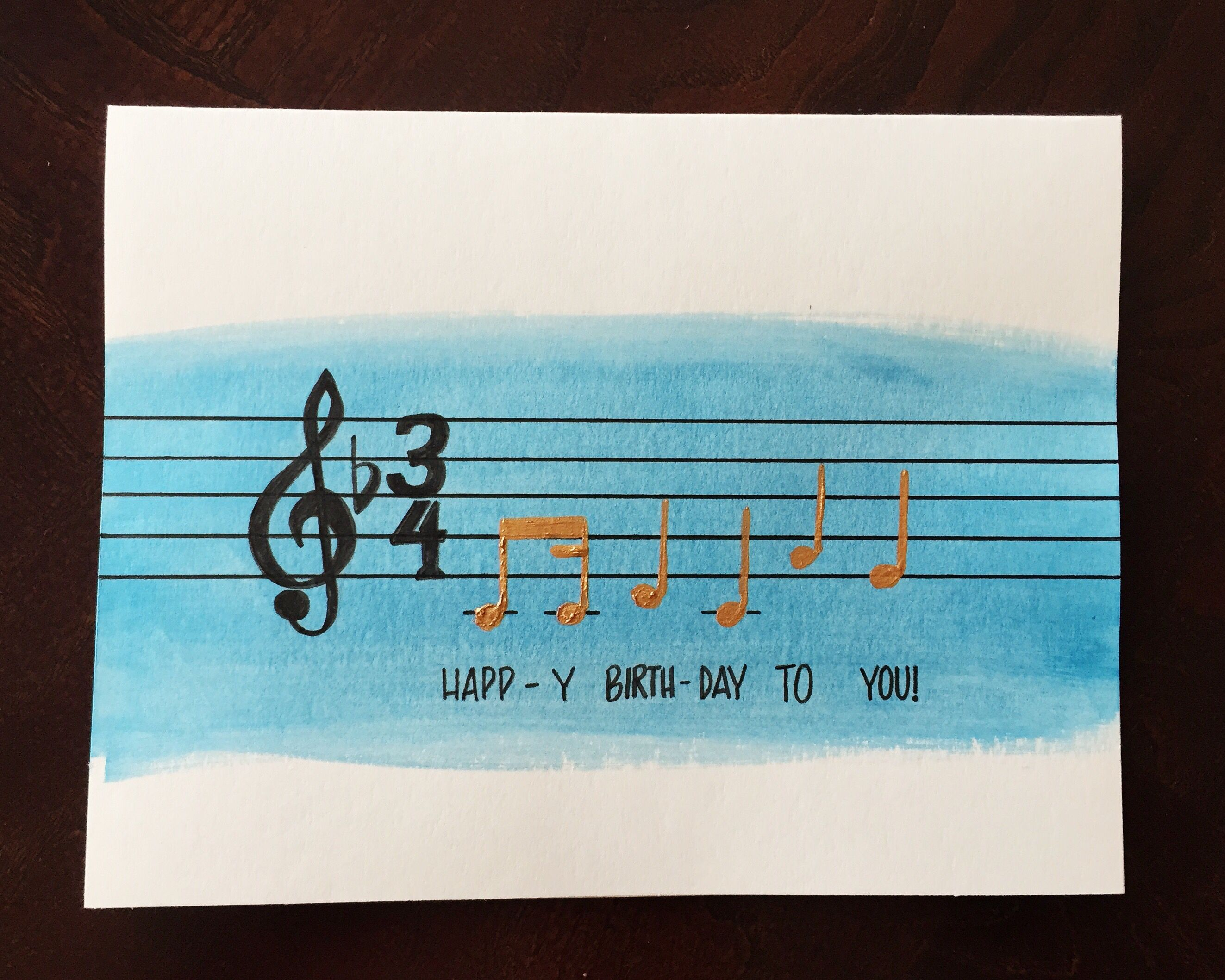 Birthday Cards Notes ~ Happy birthday to you birthday card metallic blue music notes
