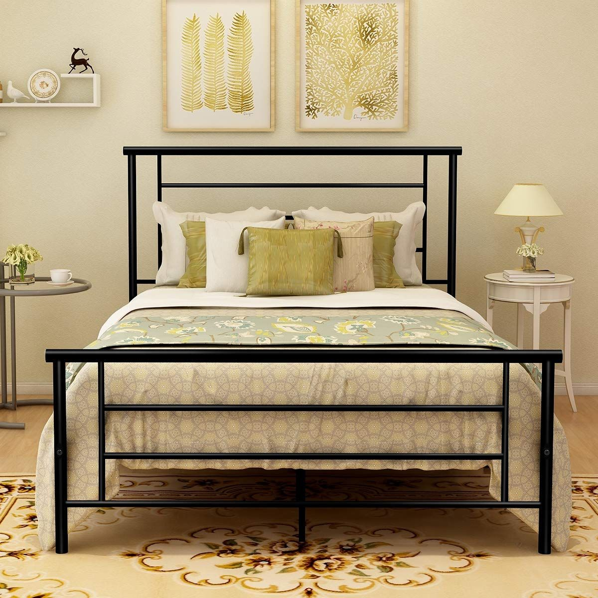 Metal Bed Frame Platform with Headboard and