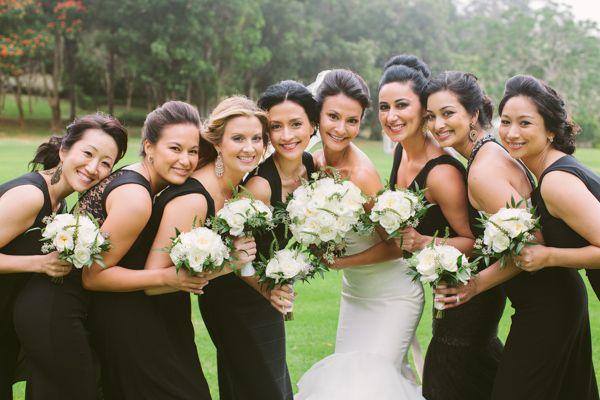 Lush Elegant Hawaii Wedding Mismatched Bridesmaid DressesBlack