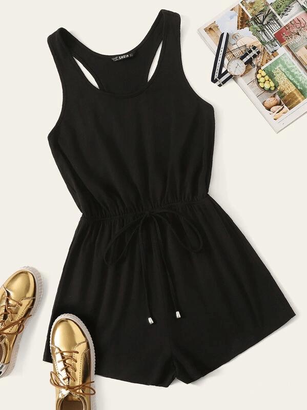 Black Plus Size Tie Waist Tank Summer Romper Sleeveless – kıyafet
