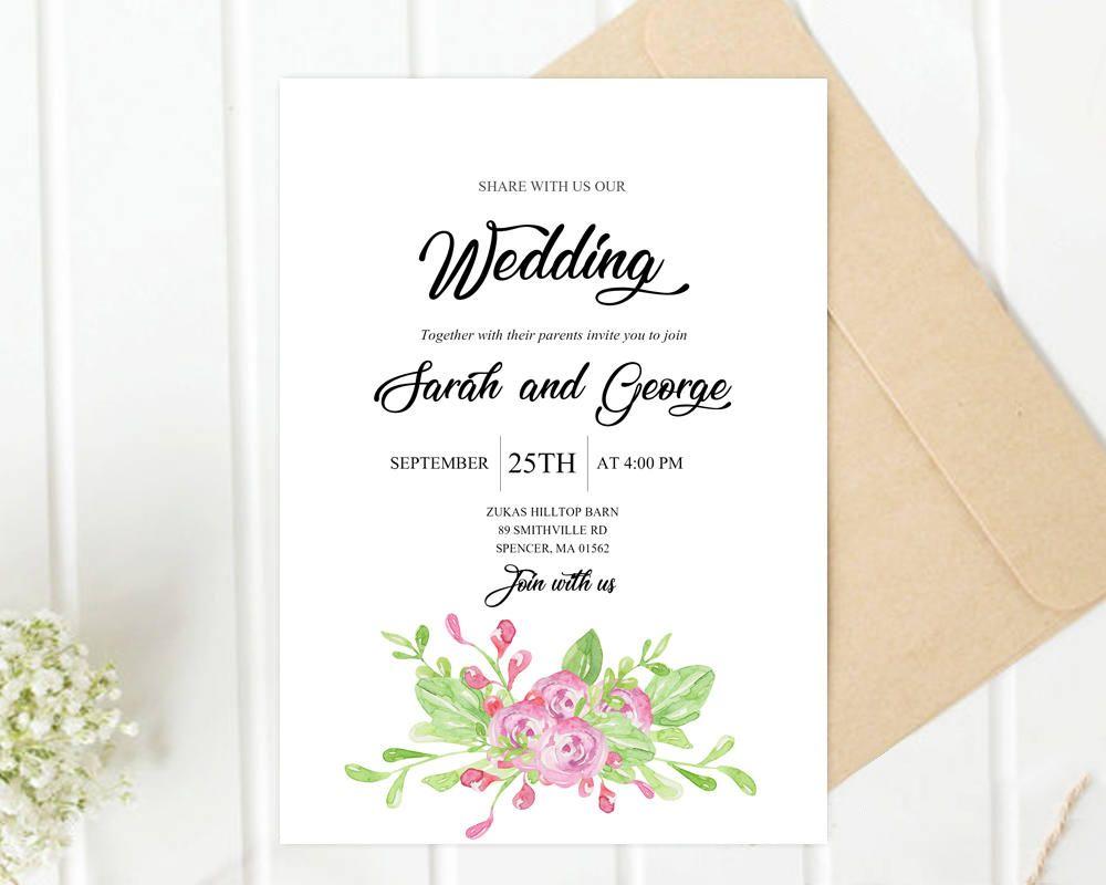 Printed Wedding Invitation Template, Green Leaves Printable Bridal ...