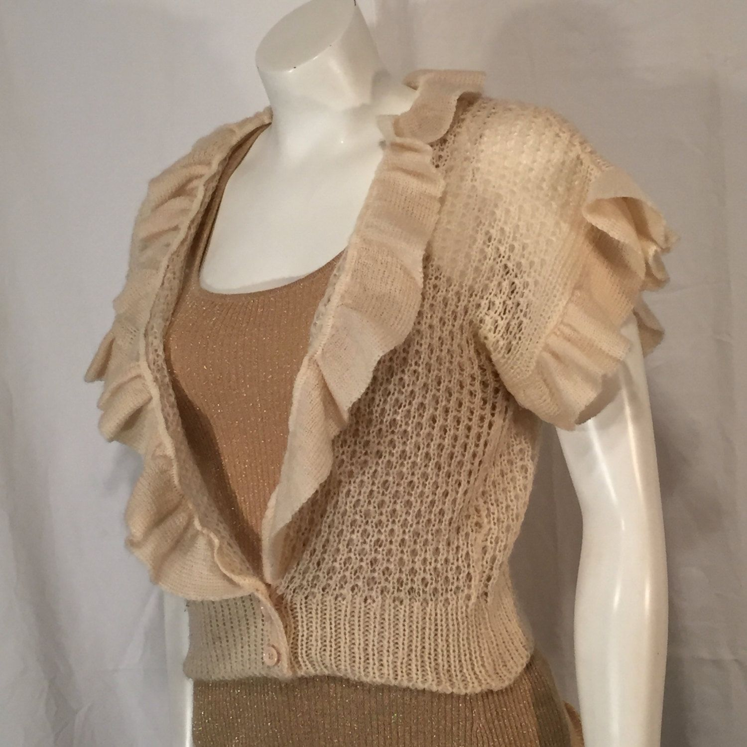 Vintage 70s Off White Cream Short Sleeve Shrug Sweater with ...