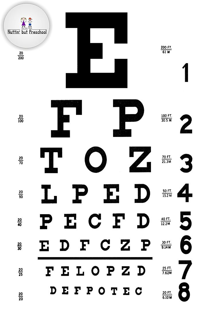This is an image of Persnickety Printable Eye Test Charts