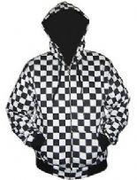 Men/'s Monochrome Checkerboard Chess Check Fleece Jumper Sweatshirt Top Sweater