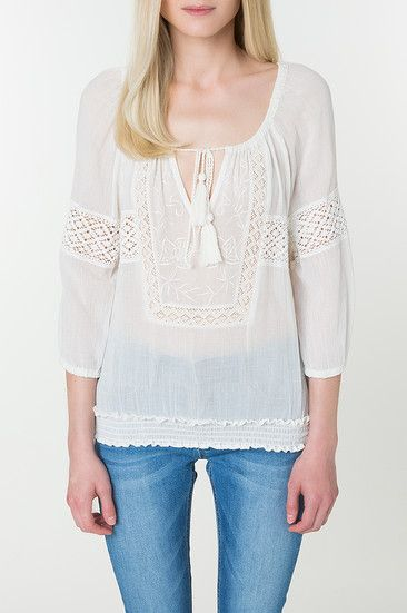 White Sheer Tunic with Crochet