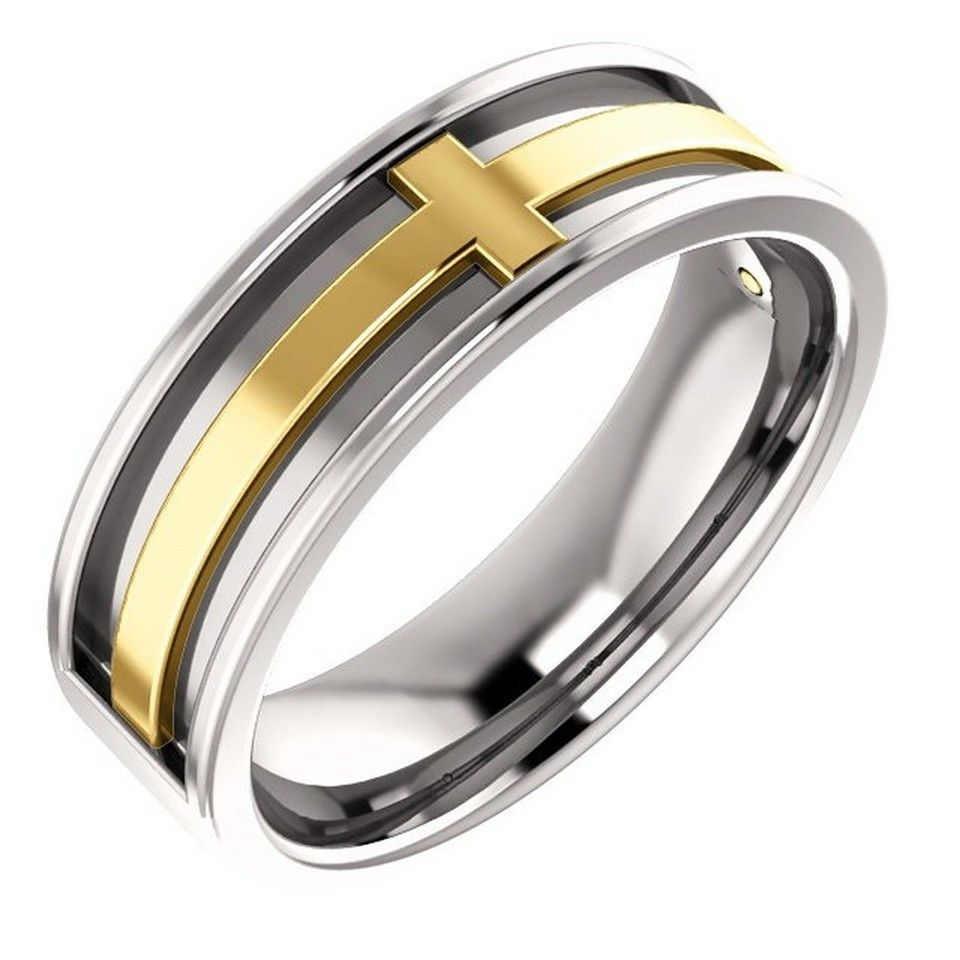6mm cross wedding band in platinum and 18k gold in 2020