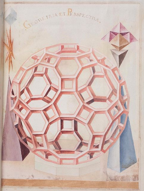 "Geometric perspective; ""from a rather obscure 16th century anonymous paper manuscript containing sketches of geometric solids"" via BiblioOdyssey"