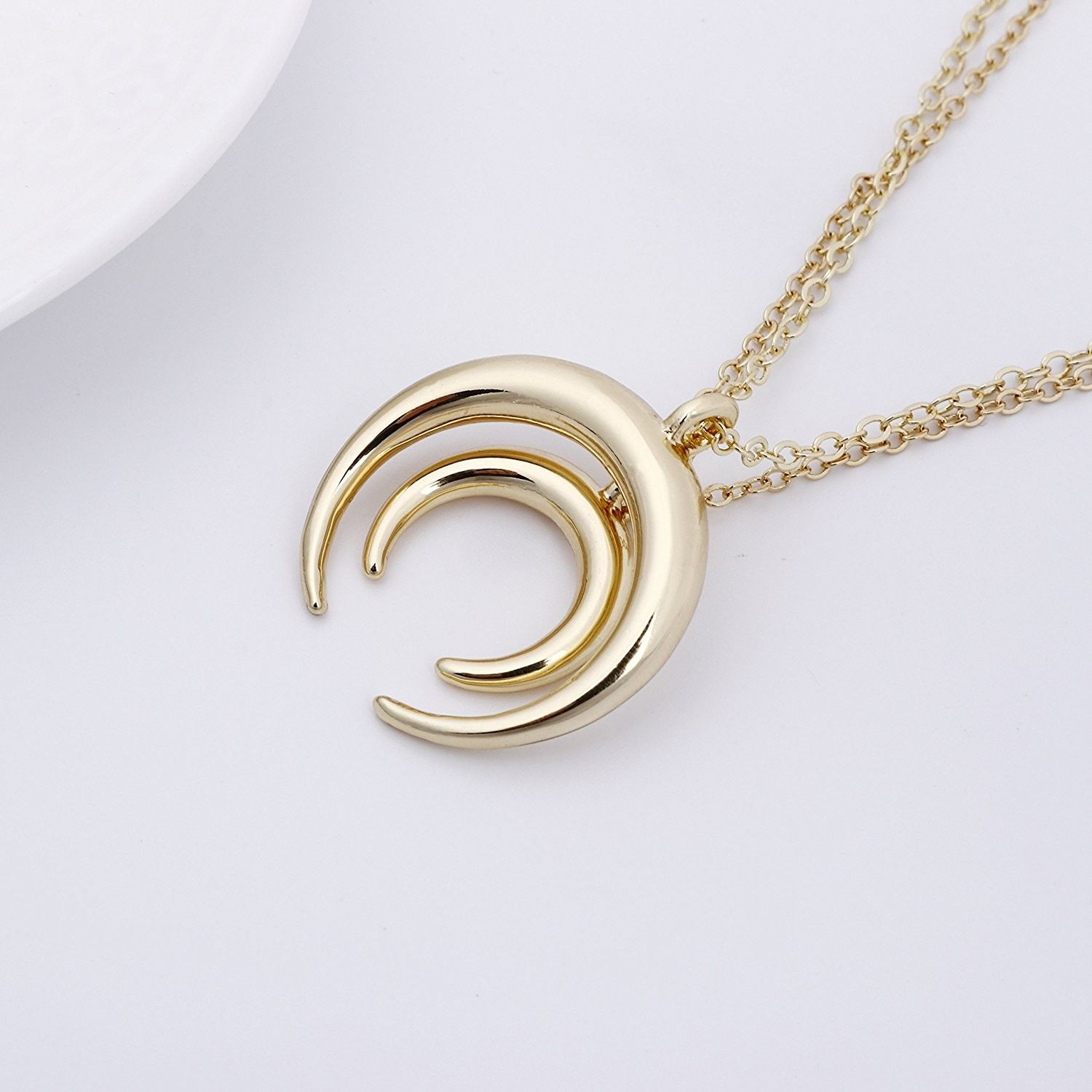 Simple double horn pendent crescent moon bohemia long necklace for