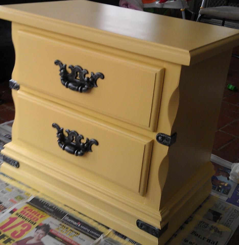 Night Stand Refinished In Valspar Toasted Wheat #yellow